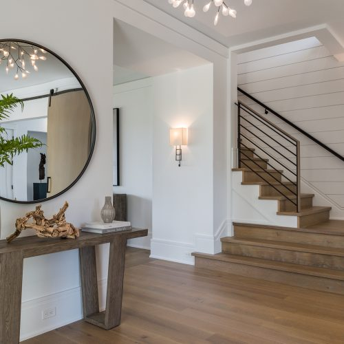 The captures a similar rustic interior has white oak floors and artistic light fixtures that mimic nature and capture the holistic, connected feeling of the property.
